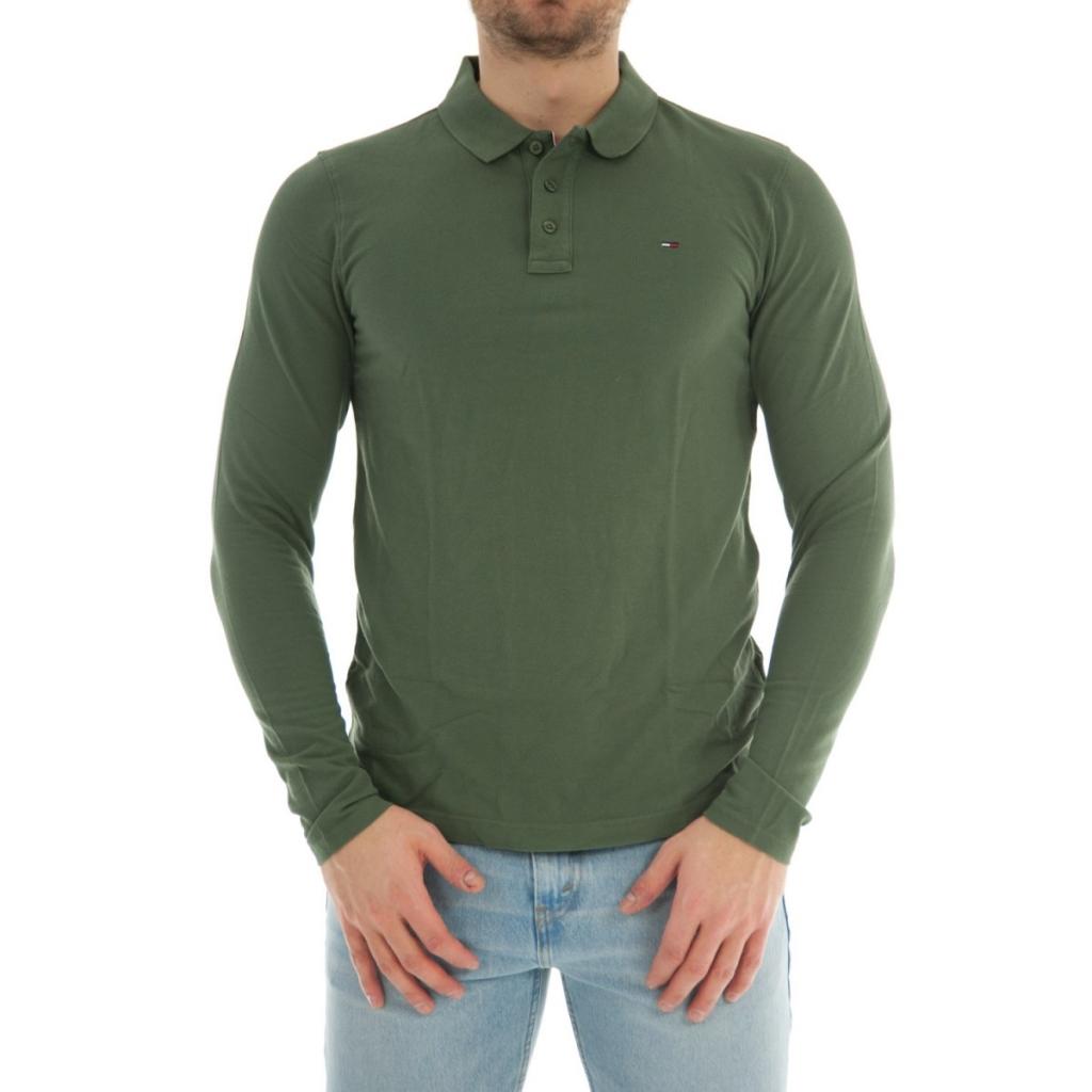 b2e35db8312 Tommy Hilfiger Men's Polo Shirt Long Sleeve Cotton 383 THYME ...