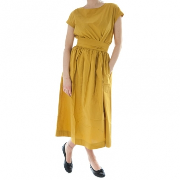 Ws popeline belted dress GIALLO