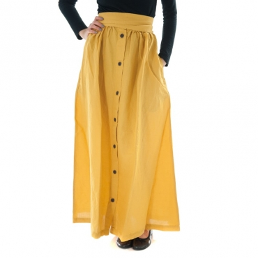 Ws cotton linen long skirt GIALLO