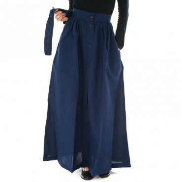 Ws cotton linen long skirt BLU