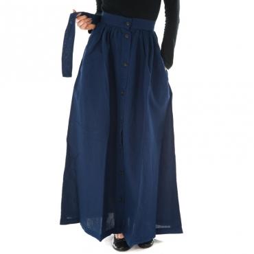 Ws cotton linen long skirt BLU