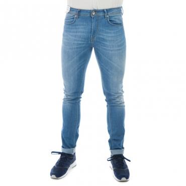 Jeans slim fit elastcon cuciture giallo in contrasto DENIM