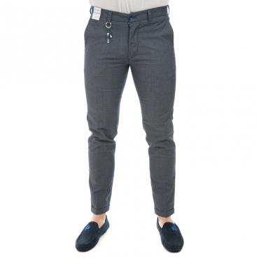 Pantalone slim fit elastin microfantasia GRIGIO