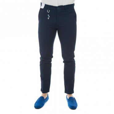 Pantalone slim fit elastin microfantasia BLU
