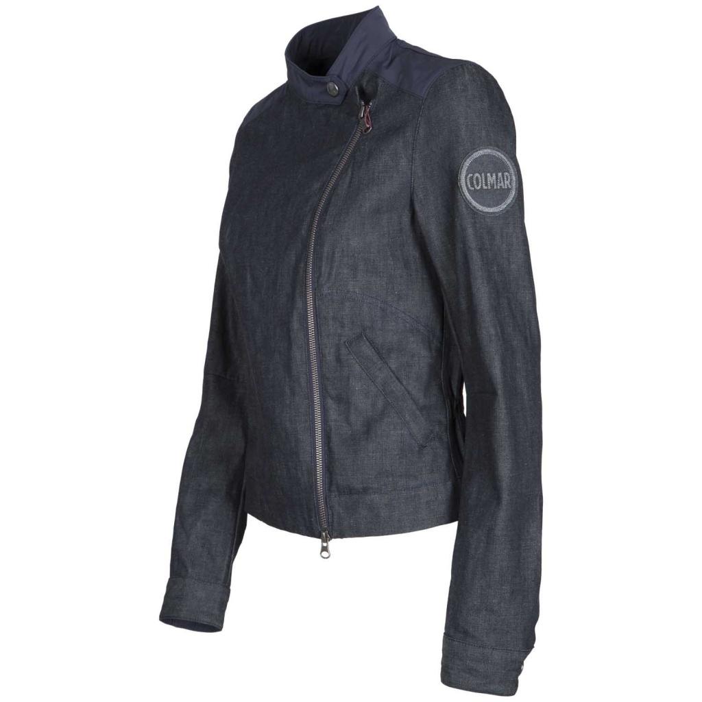 Giacca biker in denim con dettagli in tessuto impermeabile  NAVY