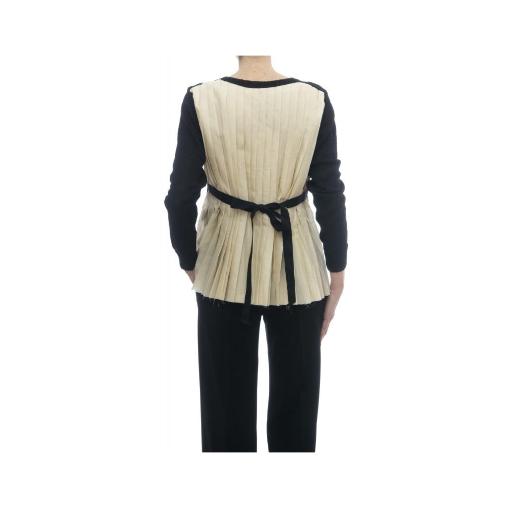 Maglieria - J1004 cardigan pieghe schiena 003 - nero