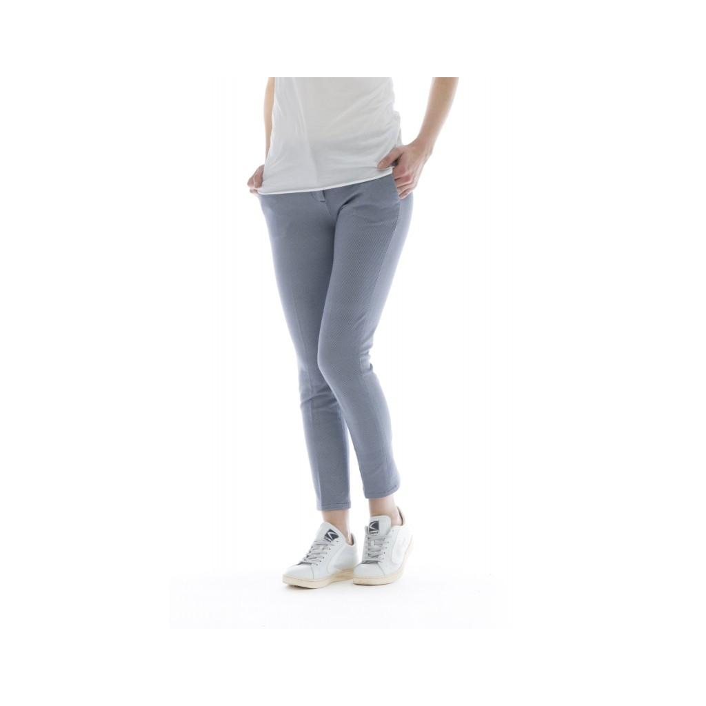 Pantalone donna - Fd1079 pantalone jersey stampato 001 - blu