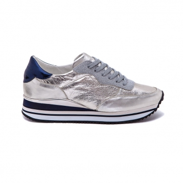 CRIME LONDON scarpa donna mod DYNAMIC 25502KS126 bianco/argento/blu 100 pelle UNICO