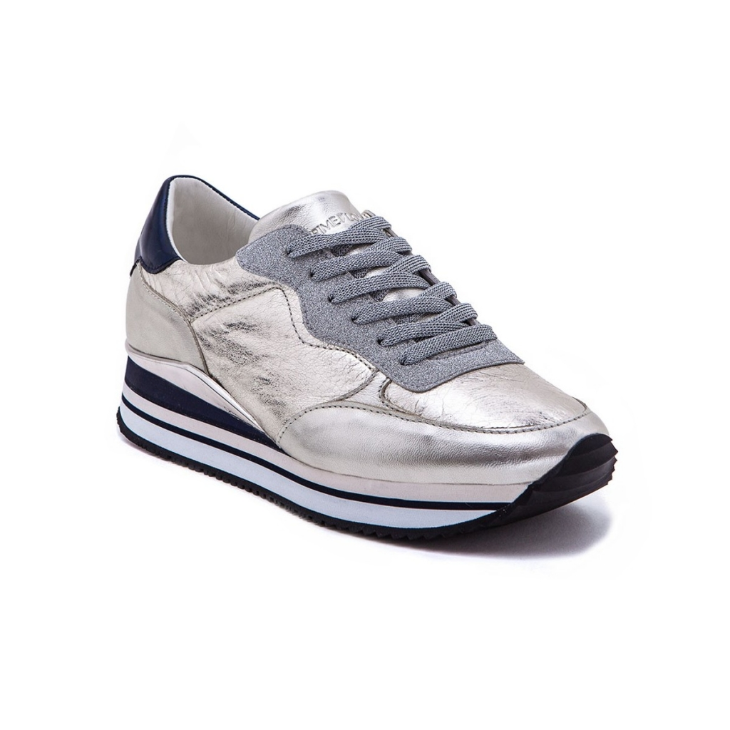 CRIME LONDON scarpa donna mod DYNAMIC 25502KS126 bianco argento blu 100  pelle UNICO e81987142b