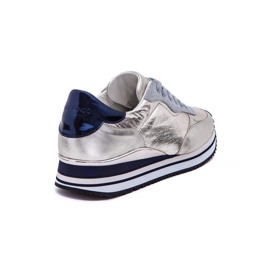 CRIME LONDON scarpa donna mod DYNAMIC 25502KS126 bianco argento blu 100  pelle UNICO daff63217b0