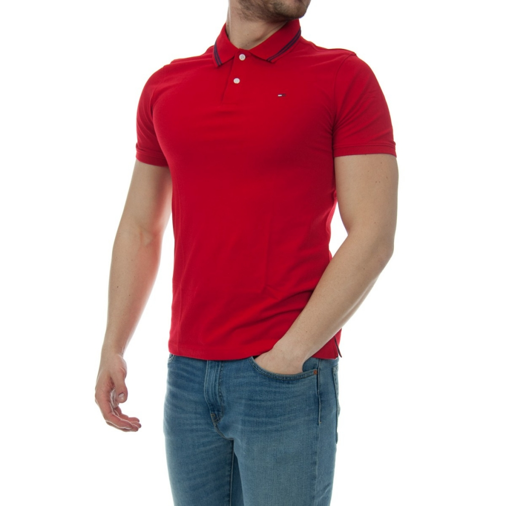 Image of Polo Tommy Hilfiger Uomo Essential Detail 683 RACING RED
