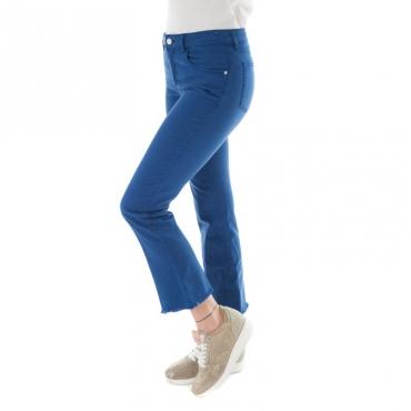 Jeans slim fit a zampa con frangette BLU ELETTRICO