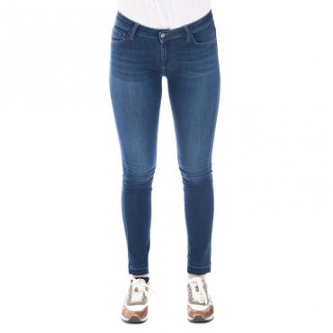Jeans slim fit a zampa con frangette DENIM