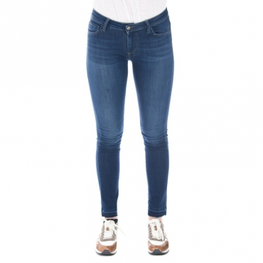Jeans slim fit a zampa con frangette DENIM