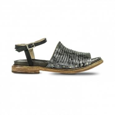FABBRICA DEI COLLI sandalo donna nero pelle tacco cm 2 mod 1TATO102 UNICO