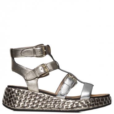 Sandali argento e platino con zeppa a motivo intrecciato ARGENTO/PLAT