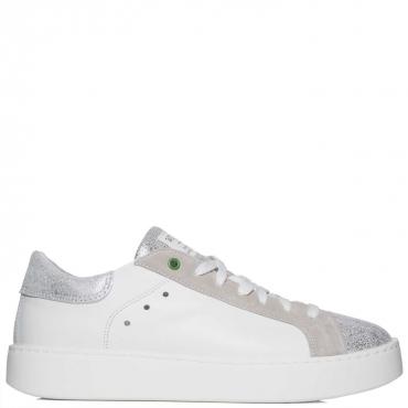 Sneakers in pelle con parte frontale glitter SILVERWHITE