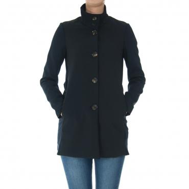 Giacca Rrd Donna Poliknit Coat Lady Bitessuto 60 BLUE BLACK