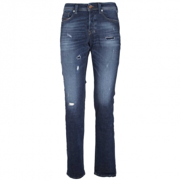 Jeans Larkee-Beex destroyed in denim blu scuro  01