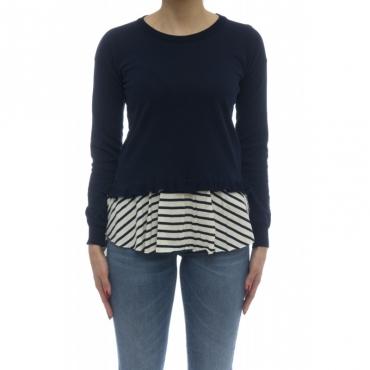 Maglieria - 145314 maglia giro fondo righina 09 - Blu