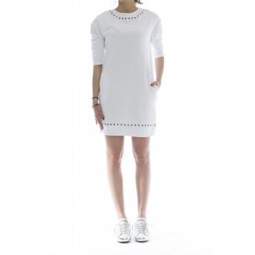 Vestito - F18206 felpa abito lungo 01 - Bianco