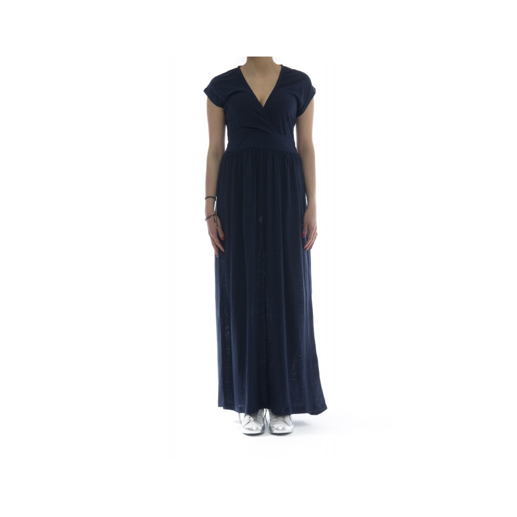 Vestito - L18205 vestito lungo lino 07 - Navy