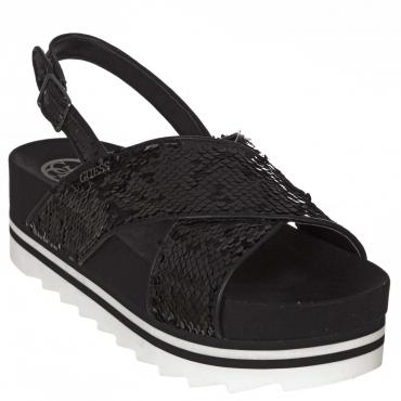 Sandali con platform 4cm e paillettes  BLACK