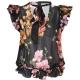 Blusa Babette nera con stampa floreale e volant ZN8MULTNERO/