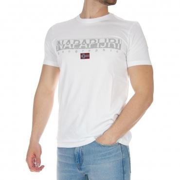 T-shirt Napapijri Uomo Box Logo 002 BRIGHT WHITE