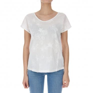T-shirt Napapijri Donna Ricamo Jersey 002 BRIGHT WHITE