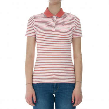 Polo Tommy Hilfiger Donna Essantial Stripe 902 SPICED CORAL