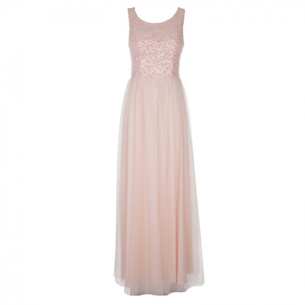 a2a67092d0f9 Long sleeveless dress in tulle with pink sequins