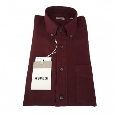 ASPESI camicia uomo manica lunga modello BD MAGRA CE14 C195 100 lino Bordeaux
