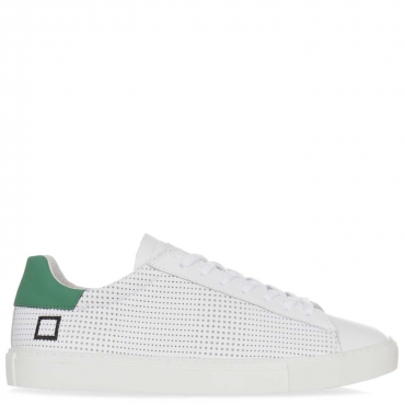 Sneakers in pelle bianca forate e con tallone verde NEW WHITE
