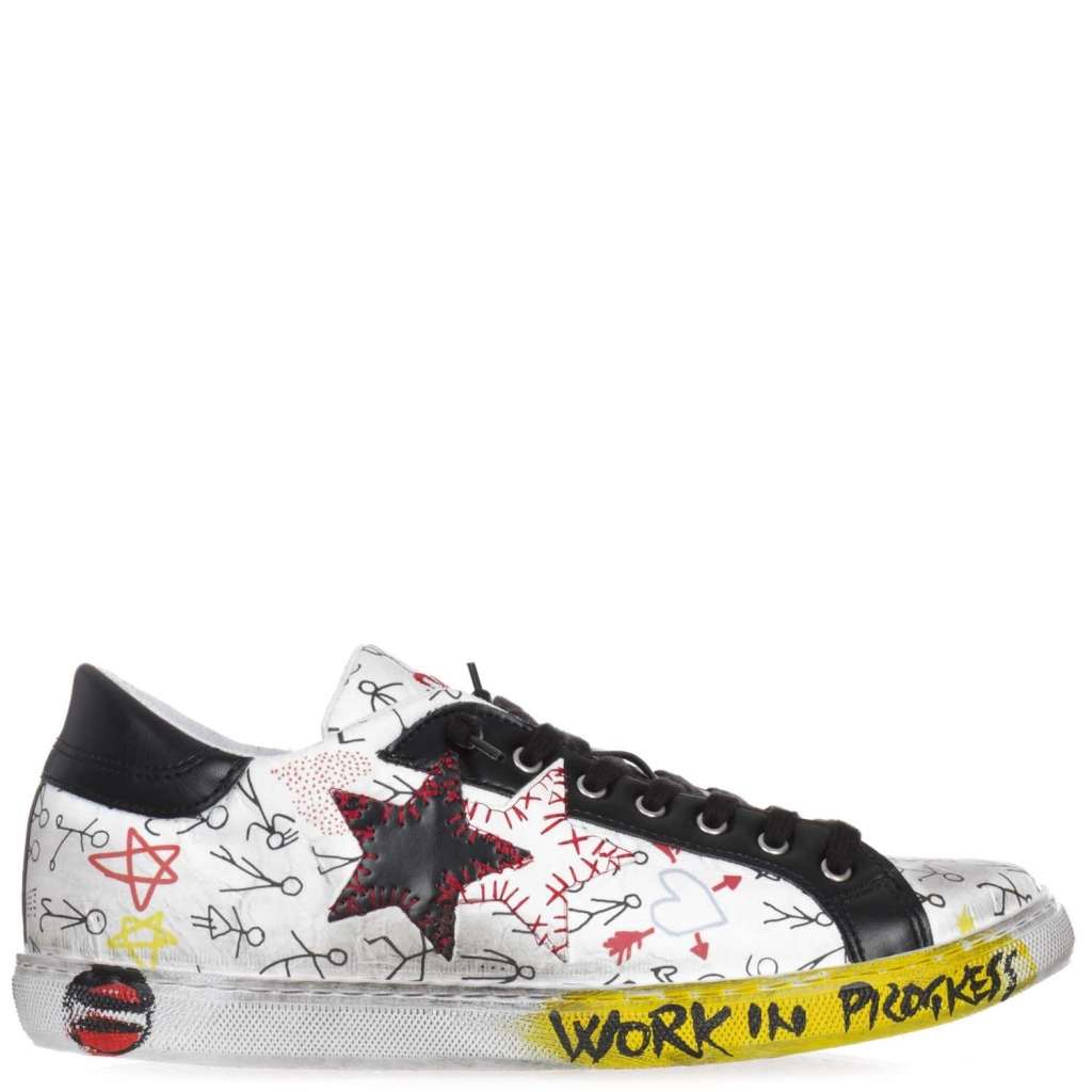 Pelle star Graffiti Con White In 2 Sneakers dt7wg0tq