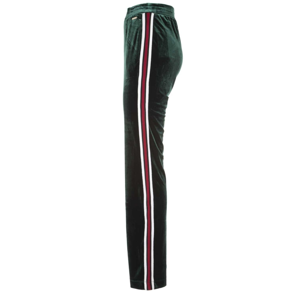Pantaloni in tessuto vellutato con bande laterali BOTTLEGREEN