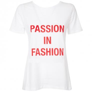 T-shirt con stampa frontale e scollo sulla schiena  PZ03