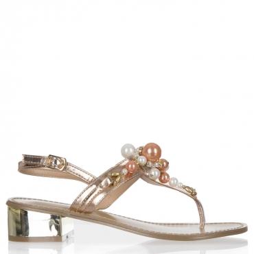 Sandali gioiello a infradito con perle frontali e tacco dorato ROSEGOLD