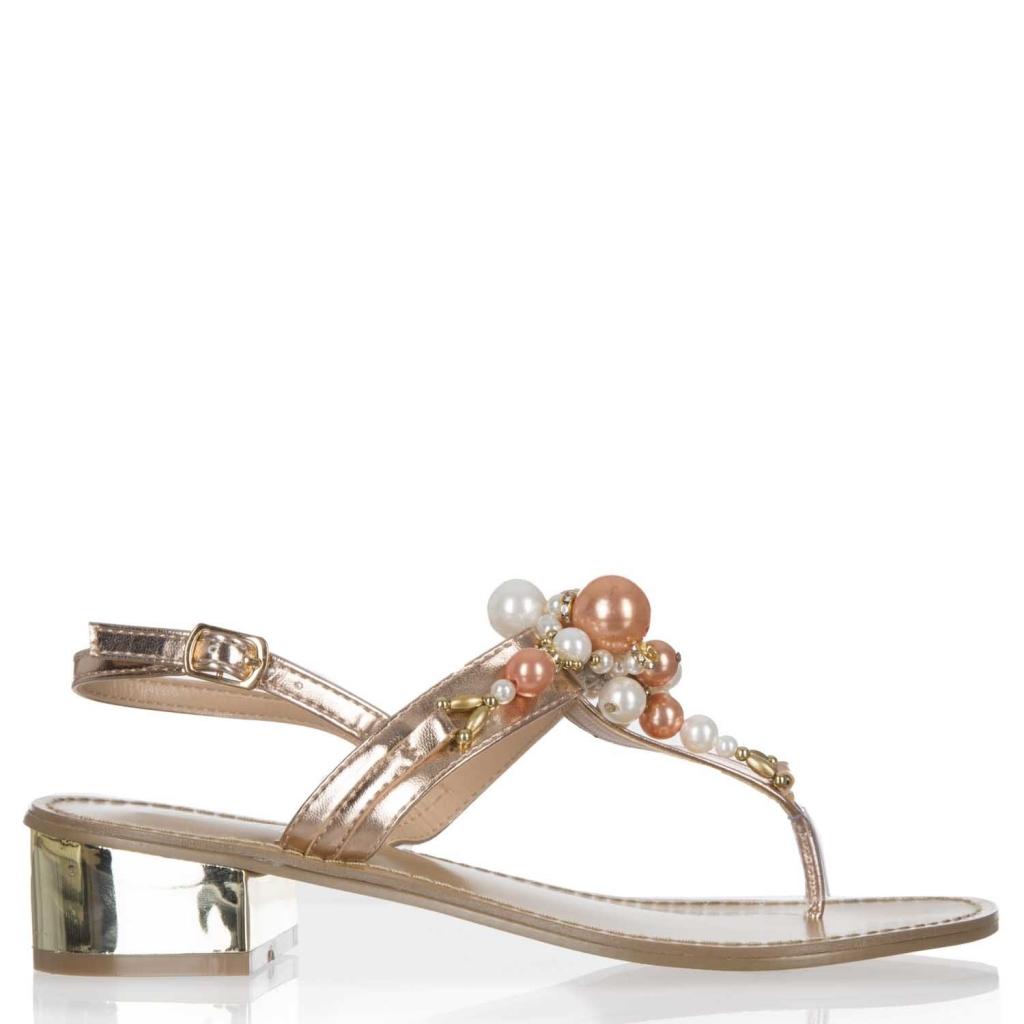 ... Sandali gioiello a infradito con perle frontali e tacco dorato ROSEGOLD  ... b6b50f0f7ff
