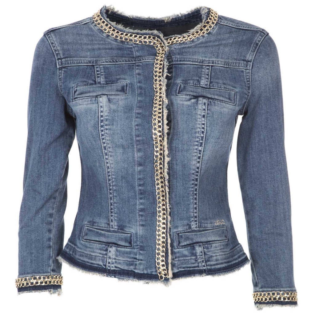 75b87b5e72c24 Kate denim jacket with fringed edges and chains in 77556DENBLU application