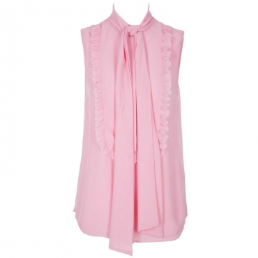 Top in georgette con rouches e foulard con fiocco 51912DRAGEE