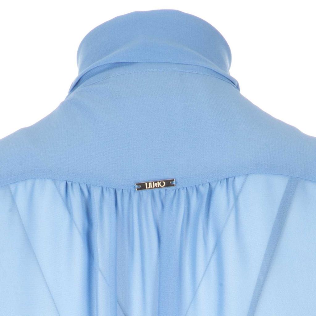 Top in georgette con rouches e foulard con fiocco X0106DARKSKY