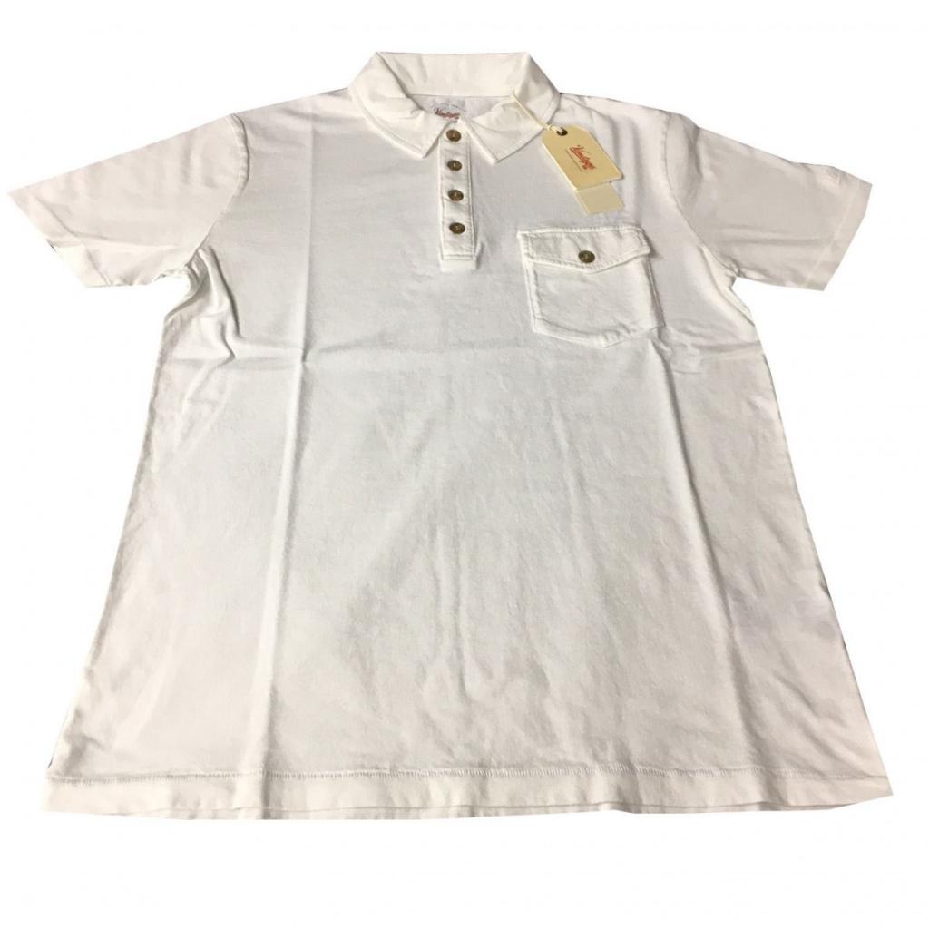 VINTAGE 55 Polo uomo mezza manica con taschino 100 cotone Bianco