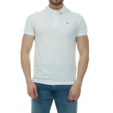Polo Tommy Hilfiger Uomo Garment Dye Stretch Lavato 100 CLASSICWHITE