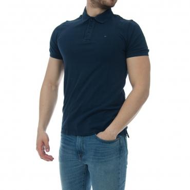 Polo Tommy Hilfiger Uomo Garment Dye Stretch Lavato 002 BLACK IRIS