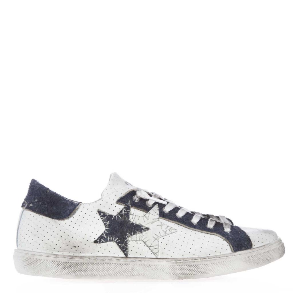 Sneakers con tomaia in pelle forata e dettagli scamosciati BIANCO/BLU bowdoo bianco Pelle