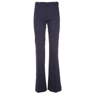 Pantalone in gabardine stretch blu a zampa F92BLUE