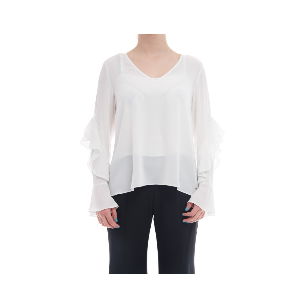 Blouse v neck with maiche volants WHITE