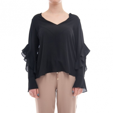 Blusa collo v con maiche volants NERO