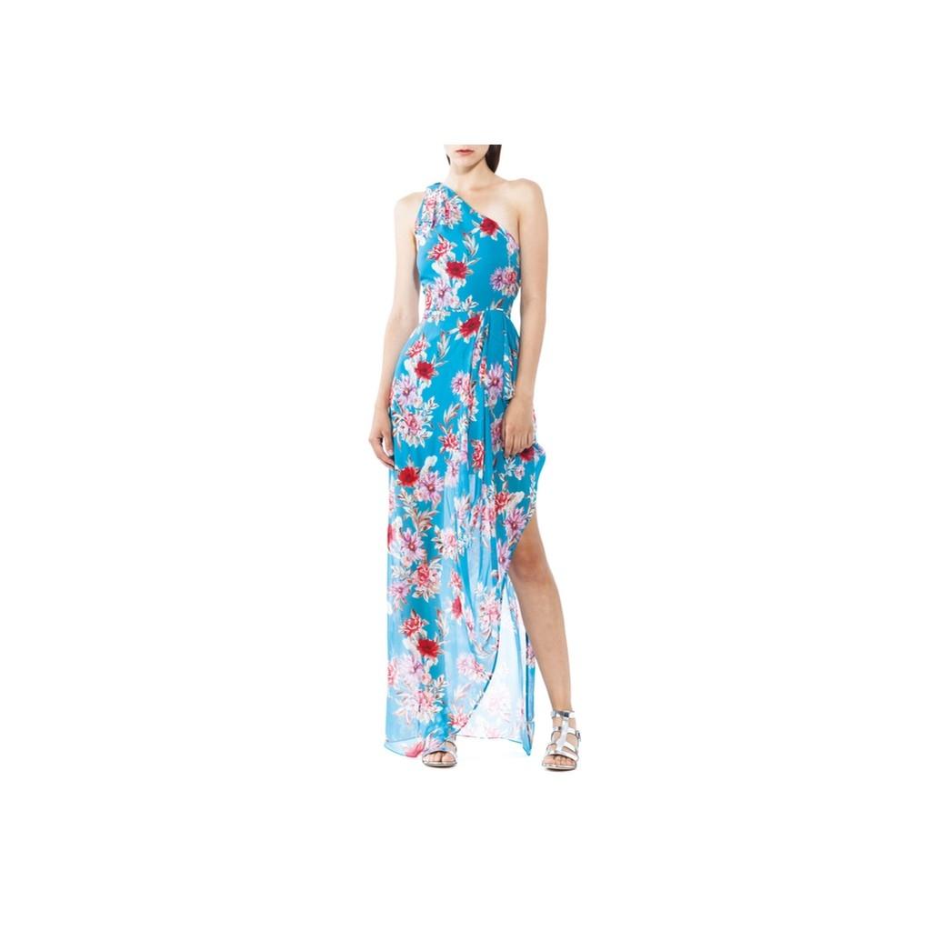 Lang geblümten Kleid AZZURRO